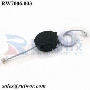 RW7006 Retractable electric wire cable pull box single side pullout one side/one way with both RJ11 4P4C plugs