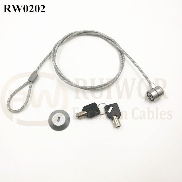 RW0202 Laptop anti theft lock Transparent rubberized wire rope lock go with port sticker Base