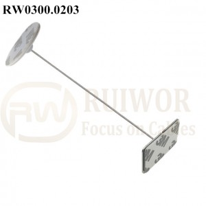 RW0300.0203 Security Cable with Diameter 30mm Circular Adhesive ABS Plate and Rectangular Adhesive metal Plate