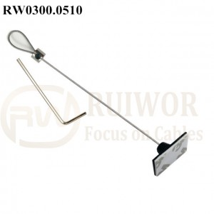 Manufacturer for Retractable Security Tether Cable - RW0300.0510 Security Cable with Adjustalbe Lasso Loop by Small Lock & Allen Key and 25X15mm Rectangular Adhesive ABS Plate – Ruiwor