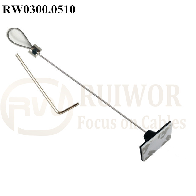 RW0300.0510 Security Cable with Adjustalbe Lasso Loop by Small Lock & Allen Key and 25X15mm Rectangular Adhesive ABS Plate