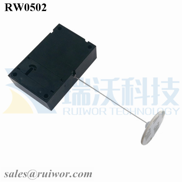 RW0502 Cuboid Anti Theft Pull Box with Dia 30mm Circular Adhesive ABS Plate for Store Security Product Position