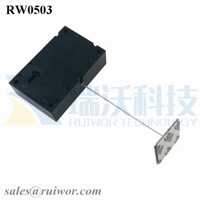 RW0503 Cuboid Anti Theft Pull Box with 35X22mm Rectangular Adhesive metal Plate for Mobile Phones Retail Security Display