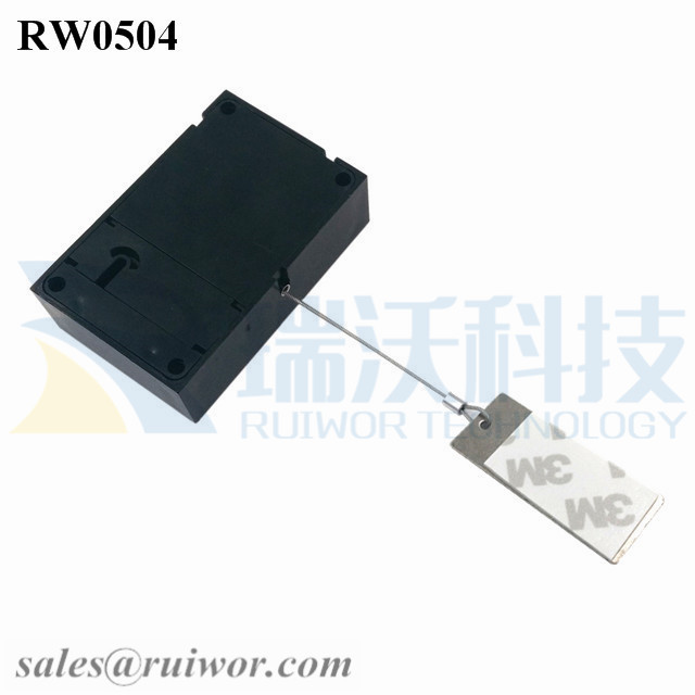 RW0504 Cuboid Anti Theft Pull Box with 45X19mm Rectangular Sticky metal Plate Used in Supermarkets Security Retail Display