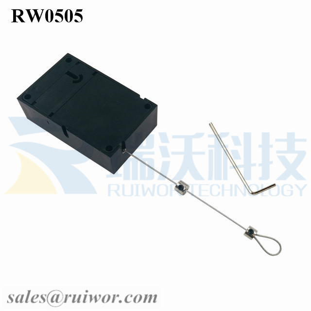 RW0505-Anti-Theft-Pull-Box-Black-Exit-B-With-Adjustalbe-Lasso-Loop-End-by-Small-Lock-and-Allen-Key