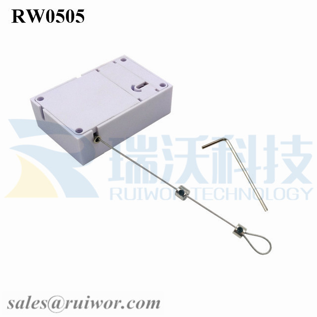RW0505 Cuboid Anti Theft Pull Box with Adjustalbe Lasso Loop End by small Lock and Allen Key