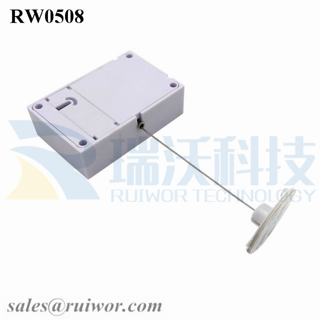 RW0508 Cuboid Anti Theft Pull Box with Dia 38mm Circular Sticky Flexible ABS Plate Used in Radian Surface Products