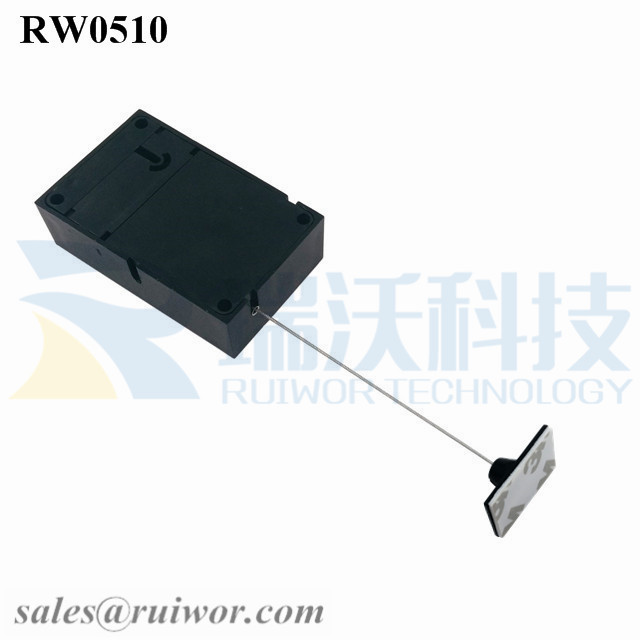 RW0510 Cuboid Anti Theft Pull Box with 25X15mm Rectangular Adhesive ABS Plate Used in Consumer Electronics Products Stores
