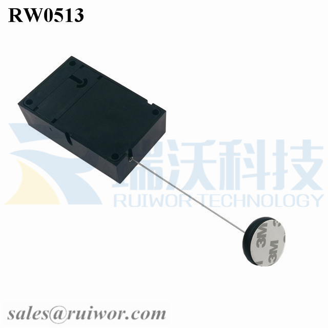 RW0513 Cuboid Anti Theft Pull Box with Dia 30MMx5.5MM Circular Adhesive ABS Block