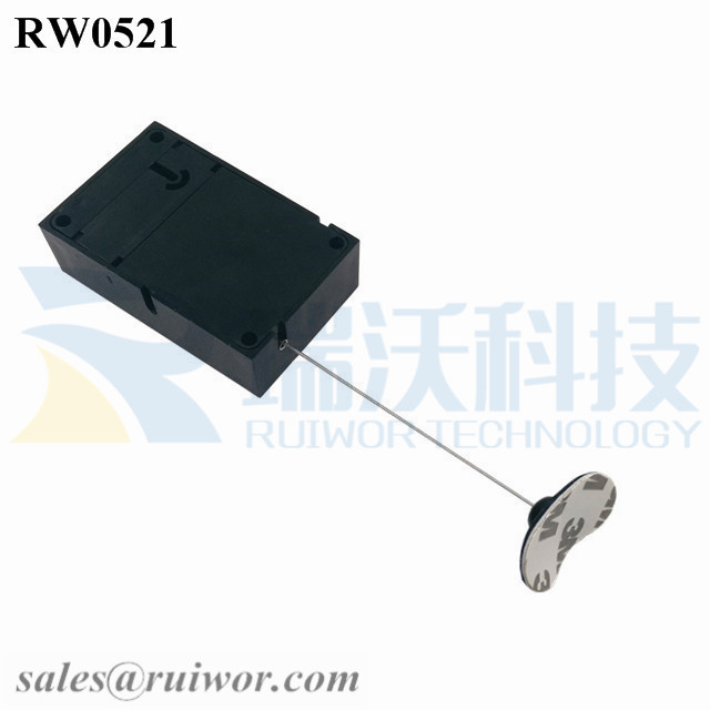 RW0521 Cuboid Anti Theft Pull Box with Retractable Cable and 33x19MM Oval Sticky Flexible Rubber Tips Cable End