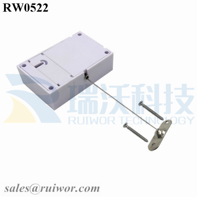 RW0522 Cuboid Anti Theft Pull Box with 10x31MM Two Screw Perforated Oval Metal Plate Connector Installed by Screw