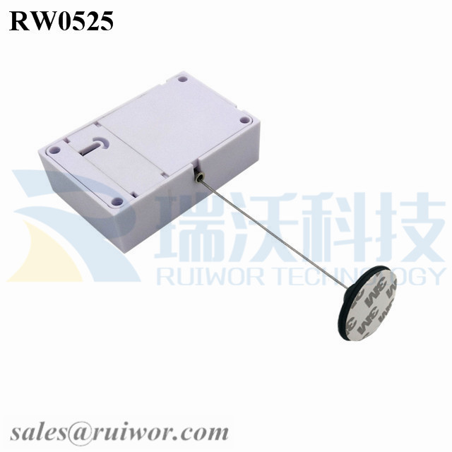 RW0525 Cuboid Anti Theft Pull Box with Dia 38mm Circular Adhesive Plastic Plate Connector