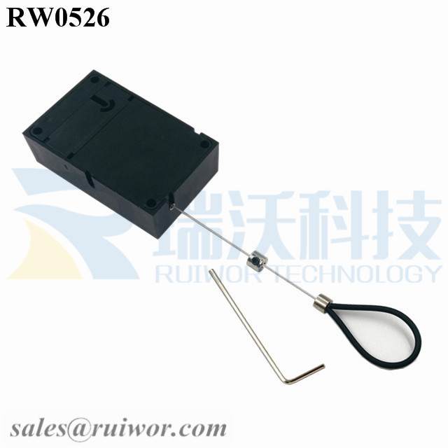 RW0526 Cuboid Anti Theft Pull Box with Adjustalbe Stainless Steel Anti-theft Cable Loop Coated with Silicone Hose
