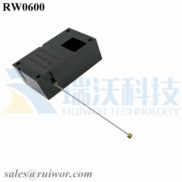 RW0600 Cuboid Ratcheting Retractable Cable Plus Stop Function Worked Cord End for Retail Product Advertising Display