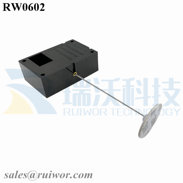 RW0602 Cuboid Ratcheting Retractable Cable Plus Ratchet Function and Dia 30mm Circular Adhesive ABS Plate