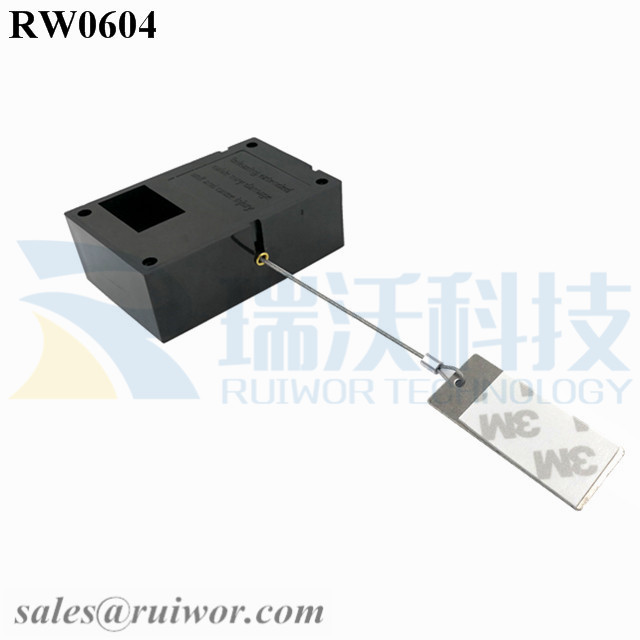 RW0604 Cuboid Ratcheting Retractable Cable Plus Pause Function and 45X19mm Rectangular Sticky metal Plate