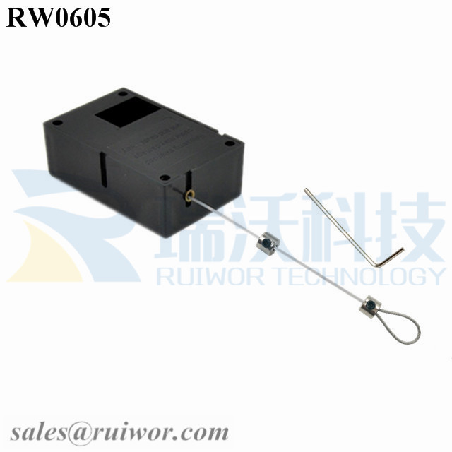 RW0605 Cuboid Ratcheting Retractable Cable Plus Ratchet Function and Adjustalbe Lasso Loop End by Small Lock and Allen Key Featured Image
