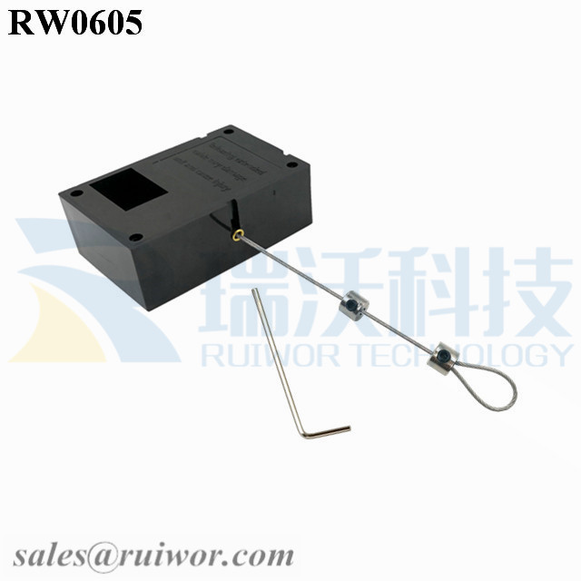 RW0605 Cuboid Ratcheting Retractable Cable Plus Ratchet Function and Adjustalbe Lasso Loop End by Small Lock and Allen Key