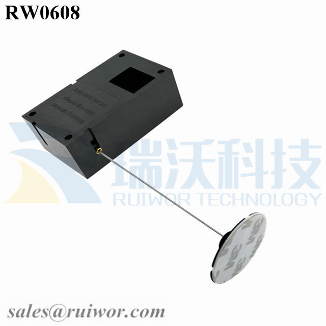 RW0608 Cuboid Ratcheting Retractable Cable Plus Stop Function and 38mm Circular Sticky Flexible ABS Plate