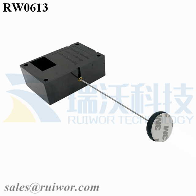 RW0613 Cuboid Ratcheting Retractable Cable Plus Pause Function 30MMx5.5MM Circular Adhesive ABS Block as Security Equipment