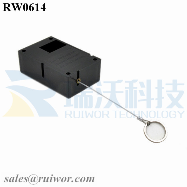 RW0614 Cuboid Ratcheting Retractable Cable Plus Ratchet Function with Demountable Key Ring for Retail Positioning Display
