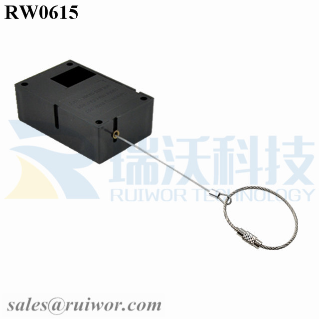 RW0615 Cuboid Ratcheting Retractable Cable With Size Customizable Wire Rope Ring Catch