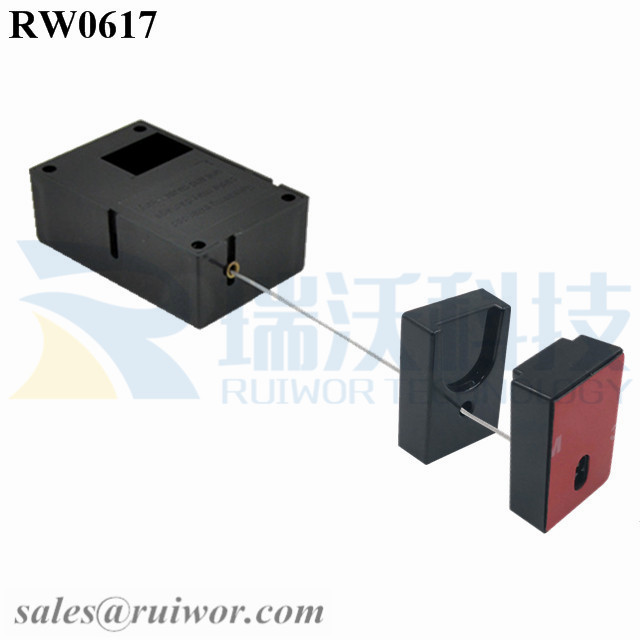 RW0617 Cuboid Ratcheting Retractable Cable Plus Pause Function Magnetic Holder Cord End for Phone Security Display