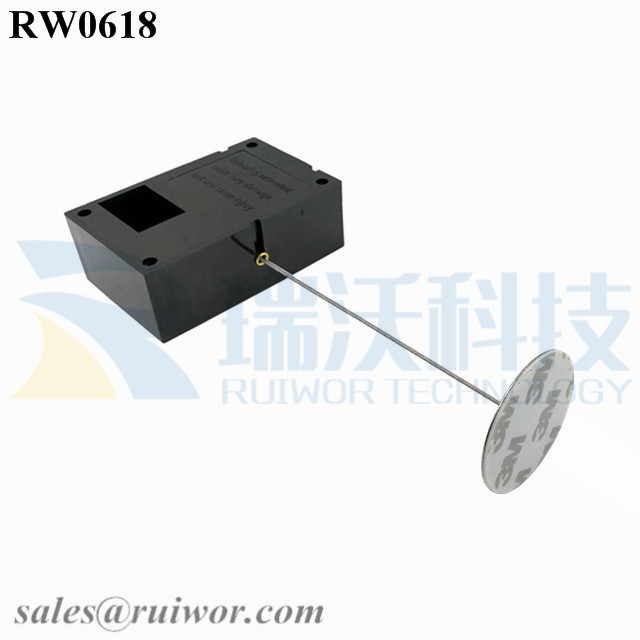 RW0618 Cuboid Ratcheting Retractable Cable Plus Ratchet Function and Dia 38mm Circular Sticky metal Plate