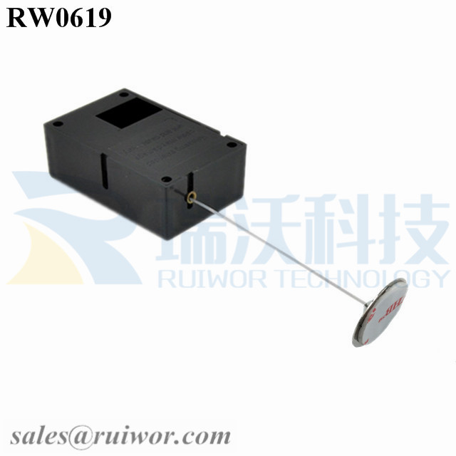 RW0619 Cuboid Ratcheting Retractable Cable Plus Stop Function 22mm Circular Sticky metal Plate as Tethered Item