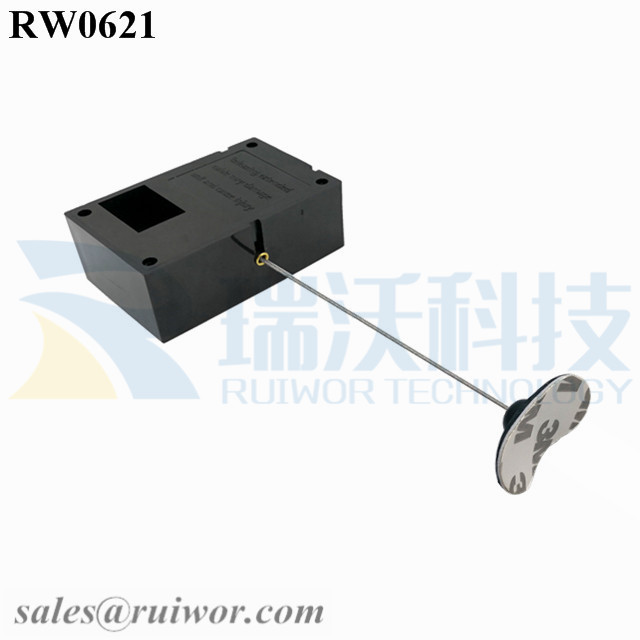 RW0621 Cuboid Ratcheting Retractable Cable Plus Pause Function and 33x19MM Oval Sticky Flexible Rubber Tips Cable Cord End