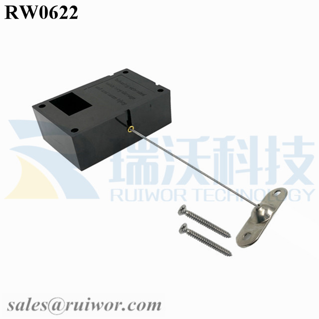 RW0622 Cuboid Ratcheting Retractable Cable Plus Ratchet Function and 10x31MM Two Screw Perforated Oval Metal Plate Connector Installed by