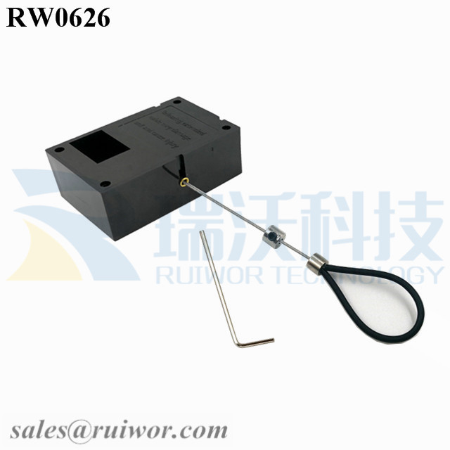 RW0626 Cuboid Ratcheting Retractable Cable Plus Ratchet Function Adjustable Stainless Steel Wire Loop Coated Silicone Hose