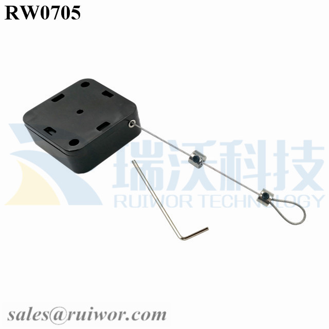 RW0705 Square Retractable Cable Plus Adjustalbe Lasso Loop End by Small Lock and Allen Key