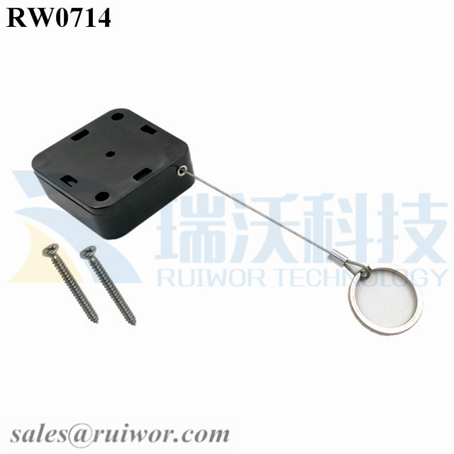 RW0714 Square Retractable Cable Plus with Demountable Key Ring for Retail Positioning Advertising Display Featured Image