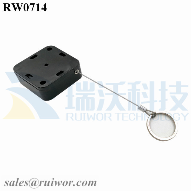 RW0714 Square Retractable Cable Plus with Demountable Key Ring for Retail Positioning Advertising Display