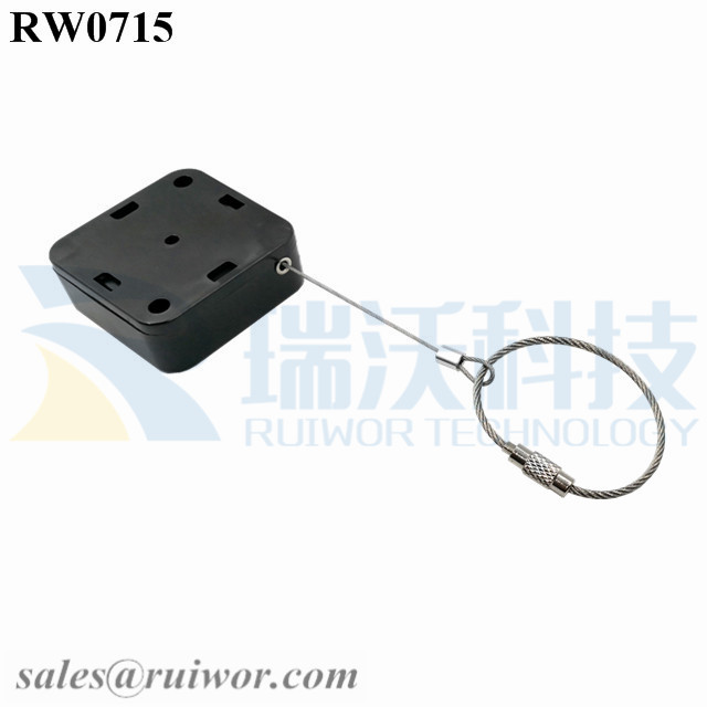 RW0715 Square Retractable Cable Plus Wire Rope Ring Catch for Retail Store Advertising Display