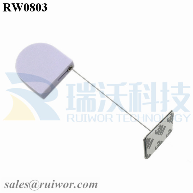 RW0803 D-shaped Small Retractable Tether Plus with Rectangular Adhesive metal Plate