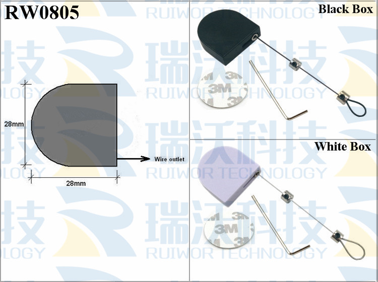 RW0805 Retractable Tether specifications (cable exit details, box size details)