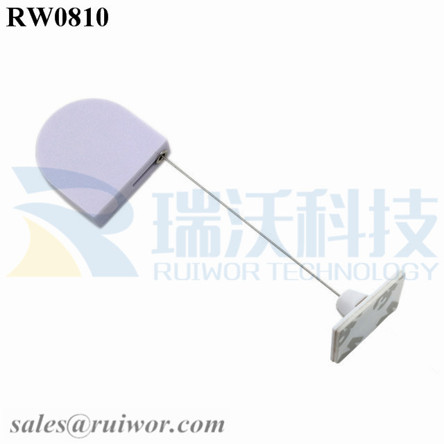 RW0810 D-shaped Micro Retractable Tether Plus 25X15mm Rectangular Adhesive ABS Plate