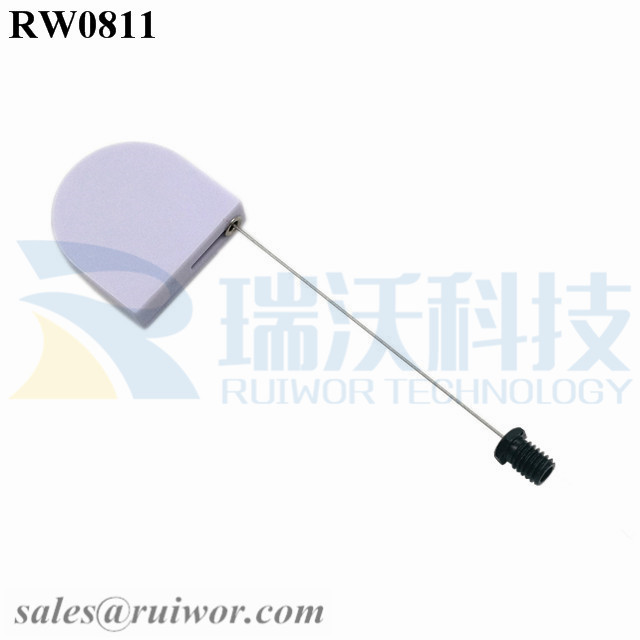 RW0811 D-shaped Mini Retractable Tether Plus M6x8MM /M8x8MM or Customized Flat Head Screw Cable End
