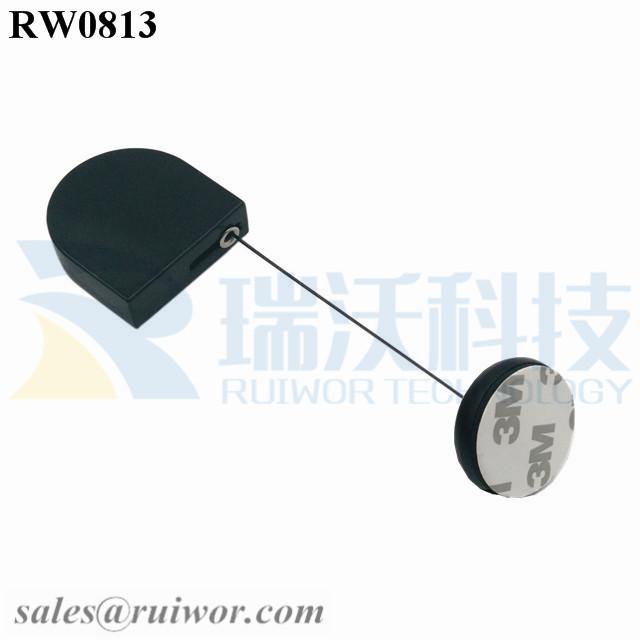 RW0813-Retractable-Tether-Black-Box-With-Diameter-30MM-Circular-Adhesive-ABS-Block