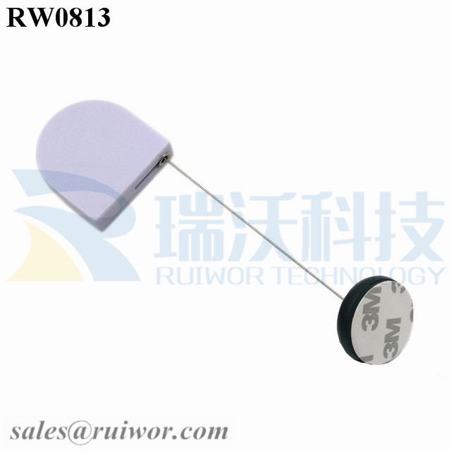 RW0813 D-shaped Small Retractable Tether Plus Dia 30MMx5.5MM Circular Adhesive ABS Block as Security Equipment