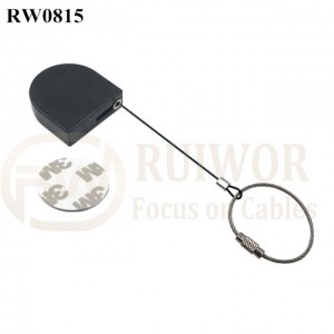RW0815 D-shaped Mini Retractable Tether Size Customizable Wire Rope Ring Catch