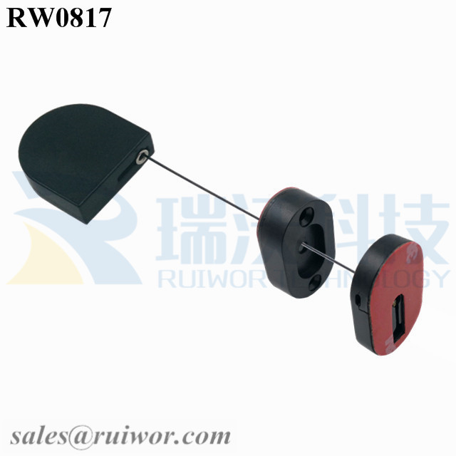 RW0817 D-shaped Small Retractable Tether Plus Magnetic Clasps for Electronic Parts Store Security Display