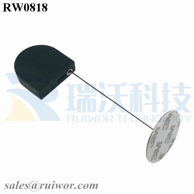 RW0818 D-shaped Micro Retractable Tether Plus Dia 38mm Circular Sticky Metal Plate