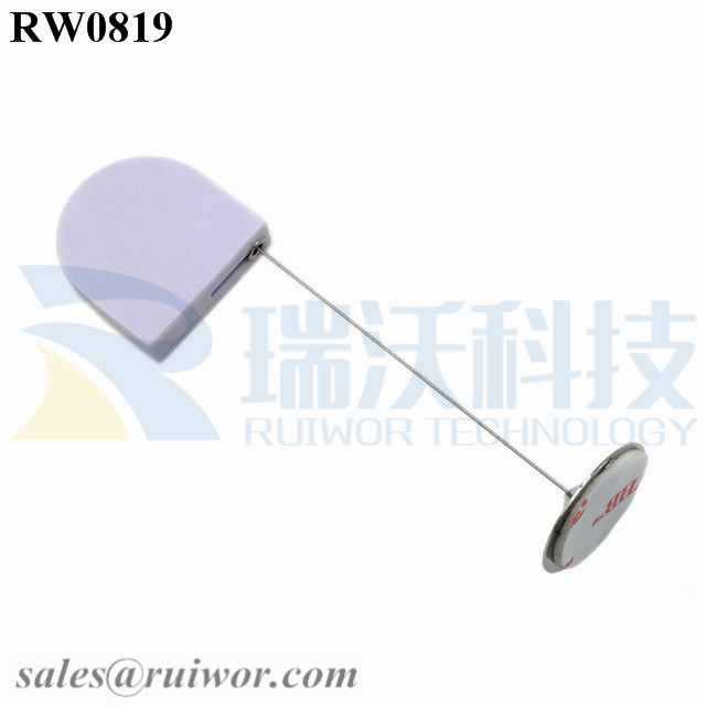RW0819 D-shaped Mini Retractable Tether Plus Dia 22mm Circular Sticky Metal Plate