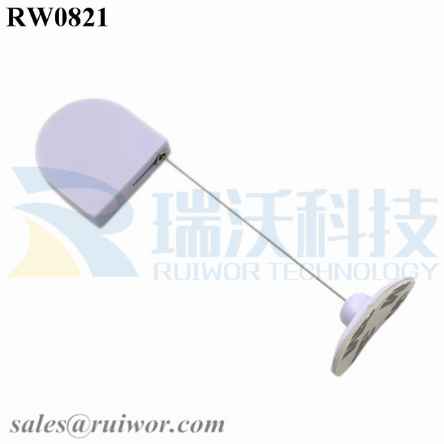 RW0821 D-shaped Mini Retractable Tether Plus 33x19MM Oval Sticky Flexible Rubber Tips Cable Cord End