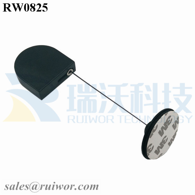 RW0825 D-shaped Retractable Tether Plus Dia 38mm Circular Adhesive Plastic Plate Connector