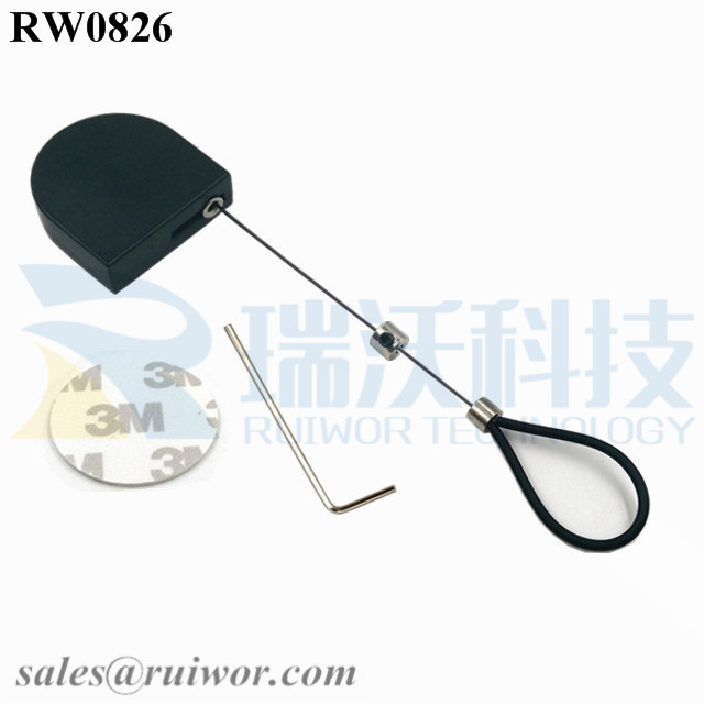 RW0826 D-shaped Small  Retractable Tether Plus Adjustable Stainless Steel Wire Loop Coated Silicone Hose