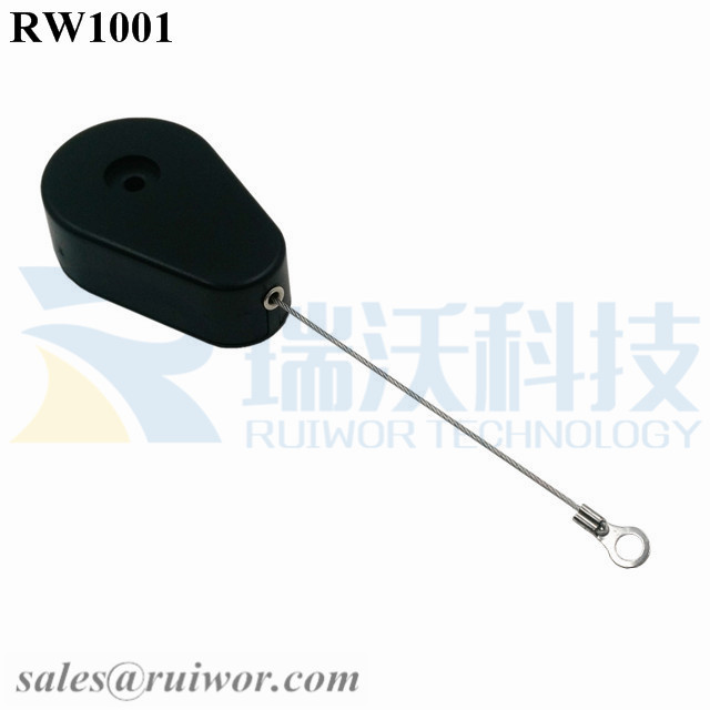 RW1001-Retractable-Security-Tether-Black-Exit-B-With-Ring-Terminal-Inner-Hole-3mm-4mm-5mm-for-Option
